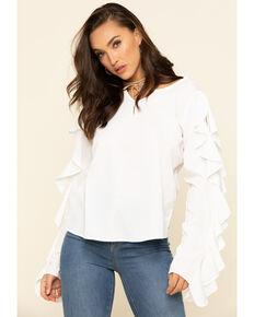 Rock & Roll Cowgirl Women's Cream Ruffle Sleeve Top, Cream, hi-res