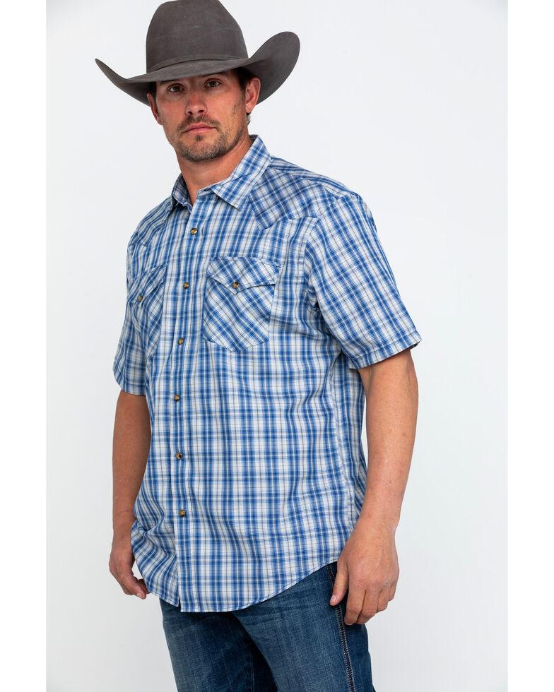 Pendleton Men's Blue Herringbone Frontier Short Sleeve Shirt, Blue, hi-res