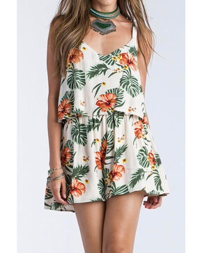 Miss Me Women's Floral Printed Two-Tiered Romper, Khaki, hi-res