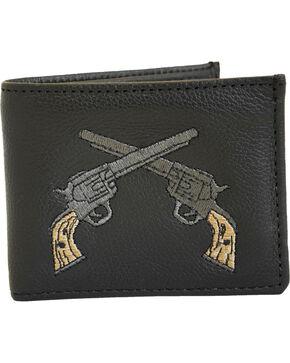 Western Express Men's Black Cross Gun Leather Wallet , Black, hi-res