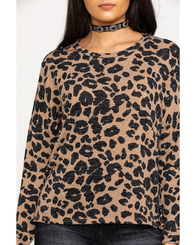 Red Label by Panhandle Women's Cheetah Pullover Sweater , Tan, hi-res