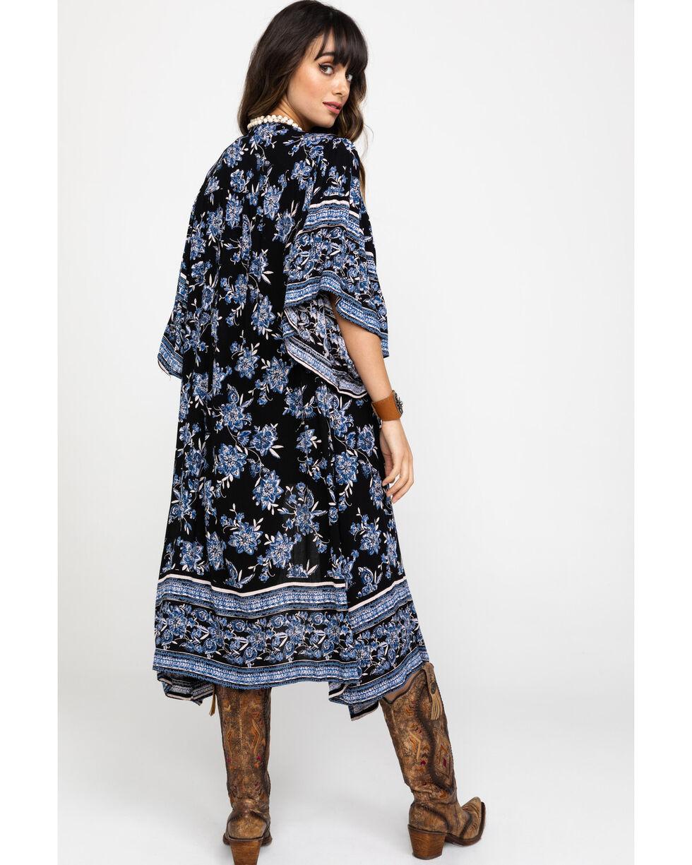Angie Women's Blue Floral Bordered Print Kimono, Black, hi-res