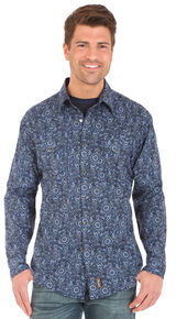 Wrangler Retro Men's Blue Floral Paisley Print Long Sleeve Western Shirt , Grey, hi-res