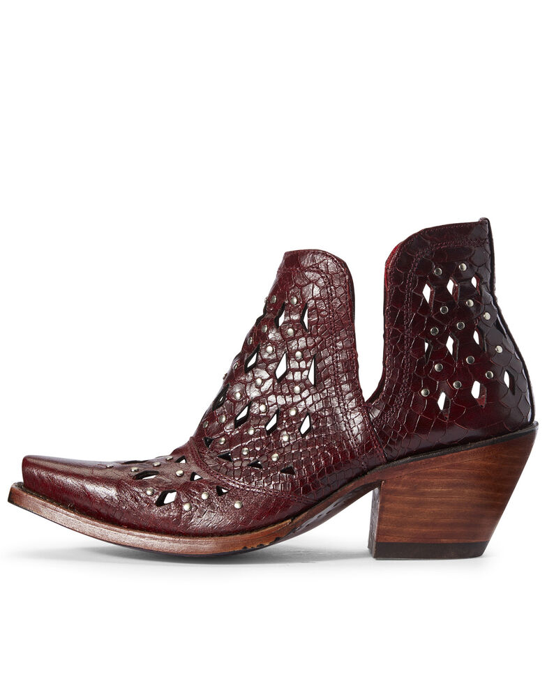 Ariat Women's Dixon Studded Fashion Booties - Snip Toe, Red, hi-res