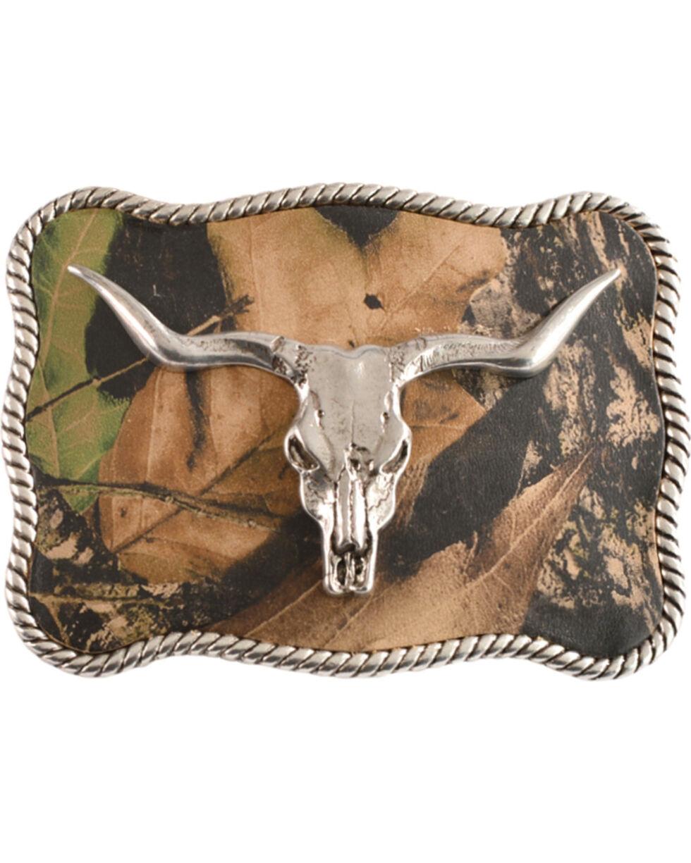 Nocona Mossy Oak Longhorn Skull Buckle, Silver, hi-res
