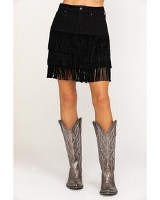 Idyllwind Women's Shake It Black Denim Fringe Skirt, Black, hi-res