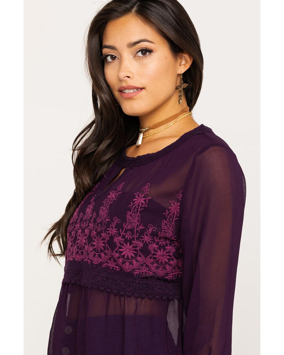 Bila Women's Plum Sheer Embroidered Blouse, Wine, hi-res
