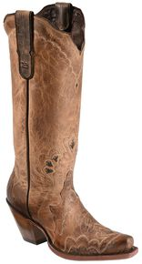 Tony Lama Black Label Tall Cowgirl Boots - Snip Toe, Tan, hi-res