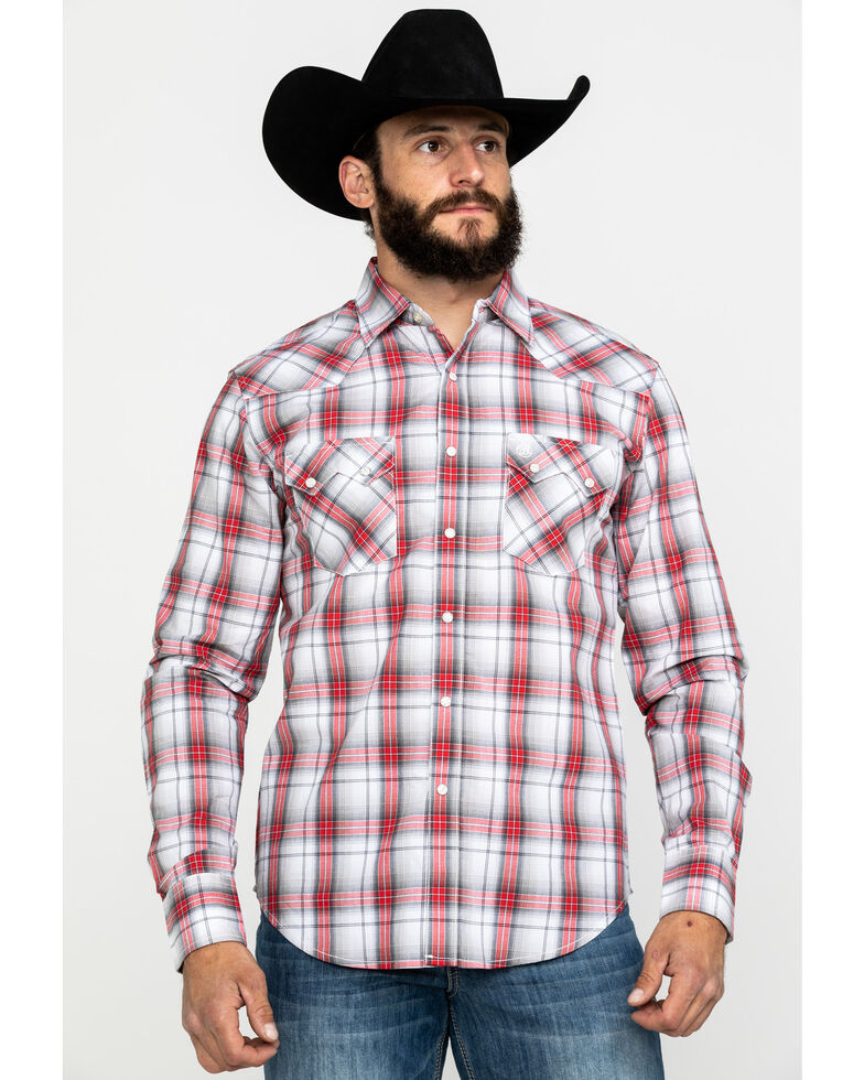 Wrangler Retro Men's Red Plaid Long Sleeve Western Shirt , , hi-res