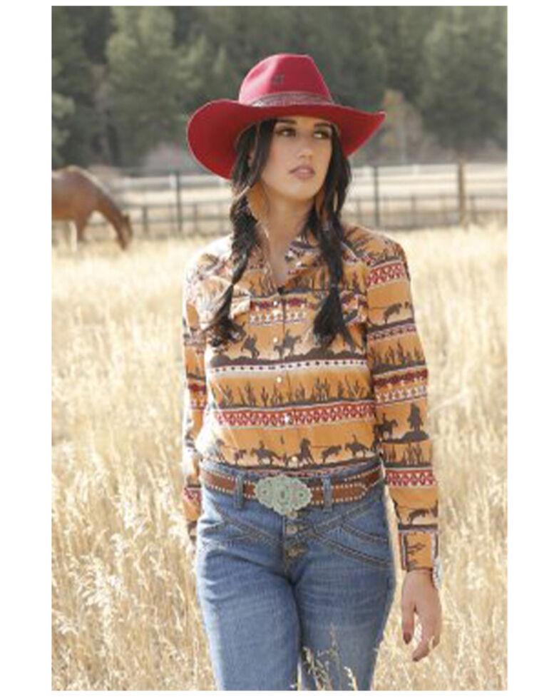 Cruel Girl Women's Novelty Print Long Sleeve Western Shirt, Gold, hi-res