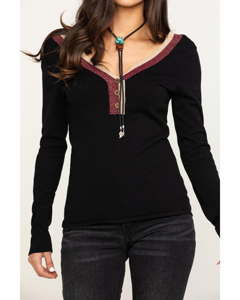 Shyanne Women's Black Long Sleeve Henley , Black, hi-res