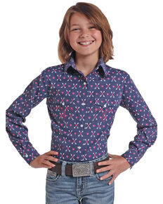 White Label by Panhandle Girls' Navy Arrow & Heart Long Sleeve Western Shirt, Navy, hi-res