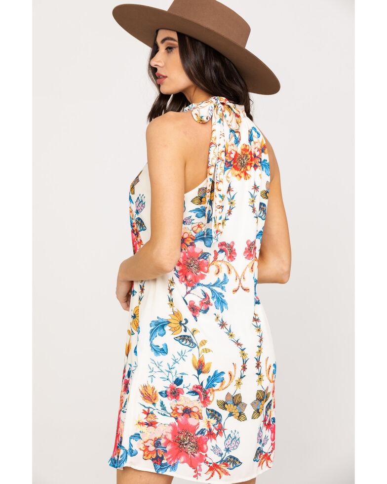 Flying Tomato Women's Ivory Floral Halter Shift Dress, Ivory, hi-res