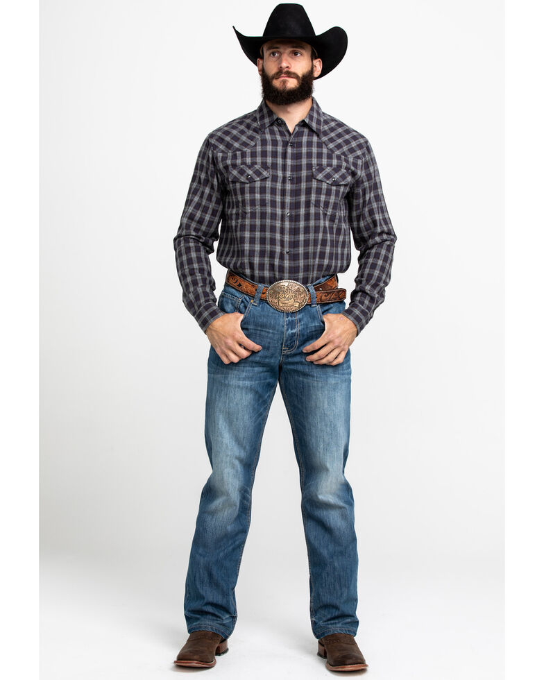 Cody James Men's Flying Squirrel Plaid Long Sleeve Western Flannel Shirt - Tall  , Grey, hi-res