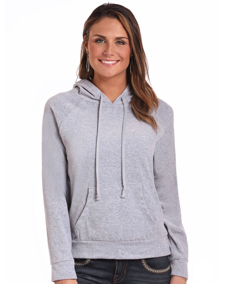 Panhandle Women's Velour Drawstring Hoodie, Grey, hi-res