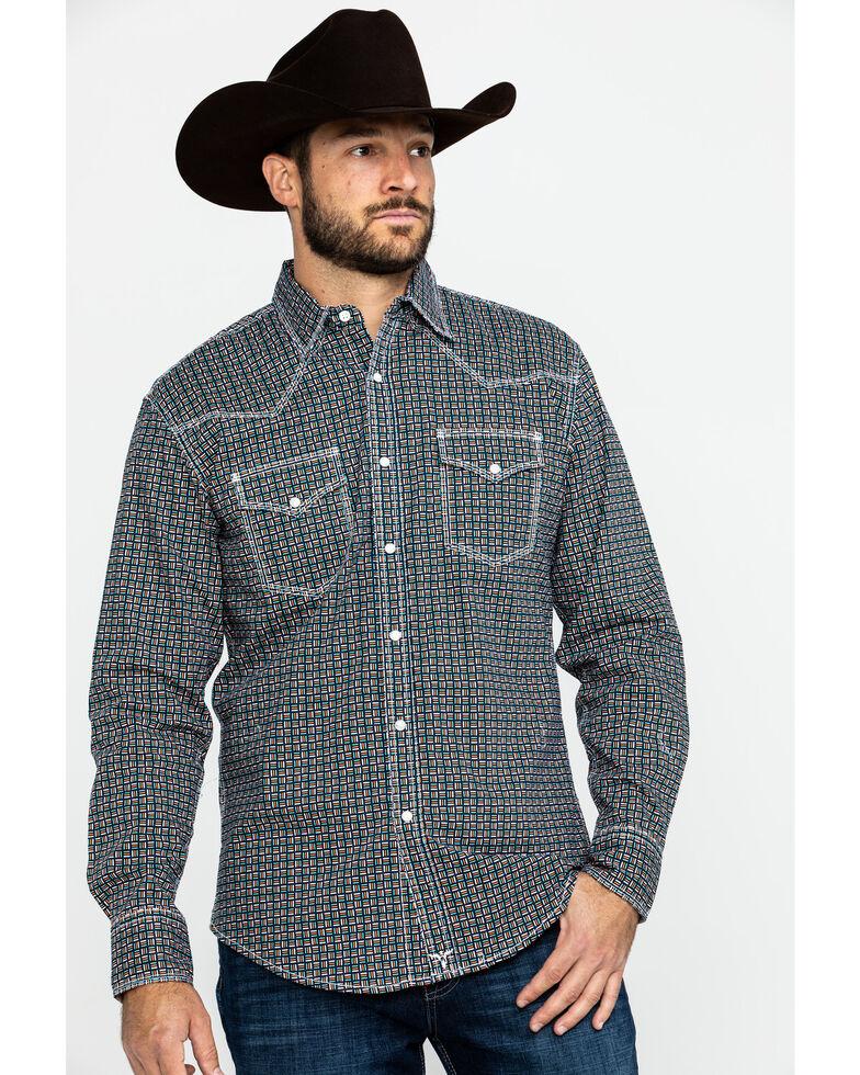 Wrangler 20X Men's Advanced Comfort Competition Navy Geo Print Long Sleeve Western Shirt , Navy, hi-res