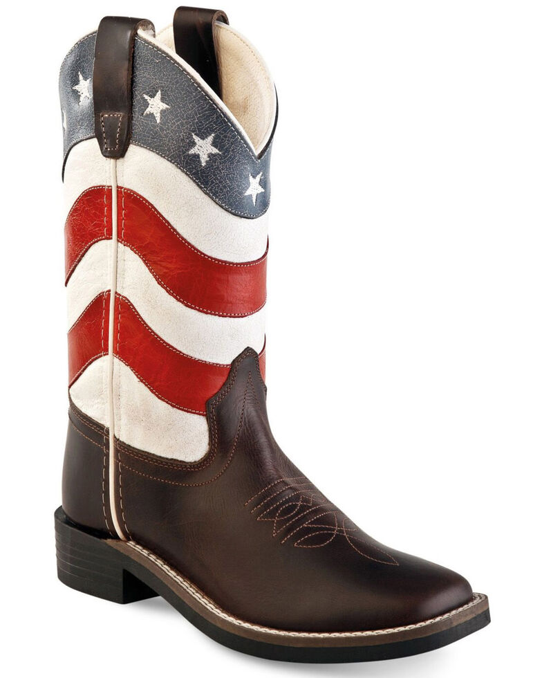 Old West Youth Boys' American Flag Western Boots - Wide Square Toe, Black, hi-res