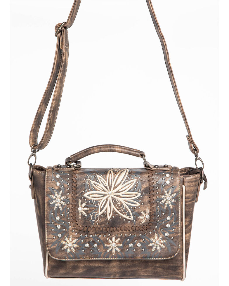 Shyanne Women's Embroidered Floral Satchel, Coffee, hi-res