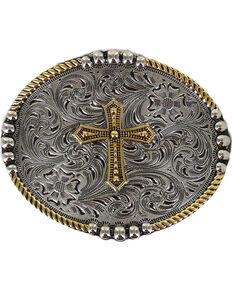Cody James Men's Filigree Cross Belt Buckle, Silver, hi-res