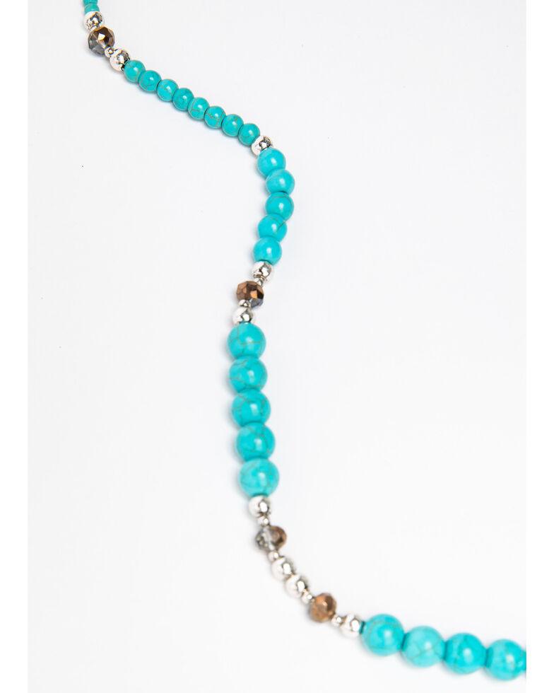 Shyanne Women's Blue Falls Cross Leather Fringe Tassel Necklace, Silver, hi-res