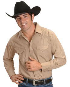 Ely Dobby Solid Western Dress Shirt, Khaki, hi-res