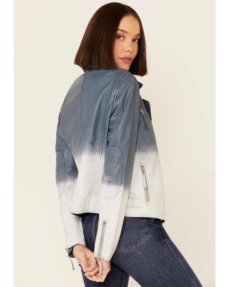 Mauritius Leather Women's Debbie Blue Ombre Leather Moto Jacket , Blue, hi-res