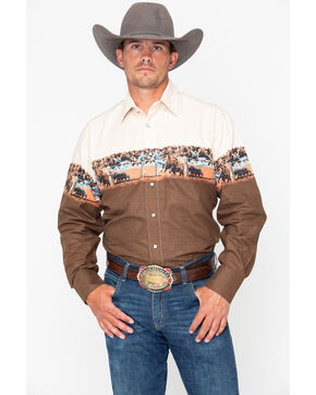 Panhandle Men's Cattle Scenic Border Long Sleeve Western Shirt, Tan, hi-res