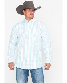 George Strait by Wrangler Men's White Small Plaid Long Sleeve Western Shirt, White, hi-res