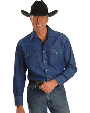 Wrangler Cowboy Cut Rigid Denim Western Work Shirt, Blue, hi-res