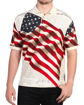 Cody James Men's Independence Short Sleeve Polo Shirt , Cream, hi-res