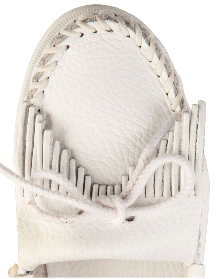 Women's Minnetonka Kilty Whipstitched Moccasins, White, hi-res