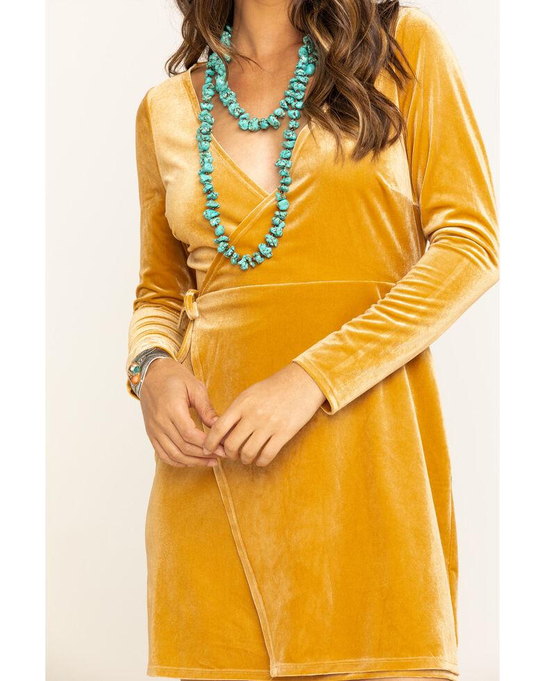 Shyanne Women's Mustard Velvet Long Sleeve Dress, Dark Yellow, hi-res