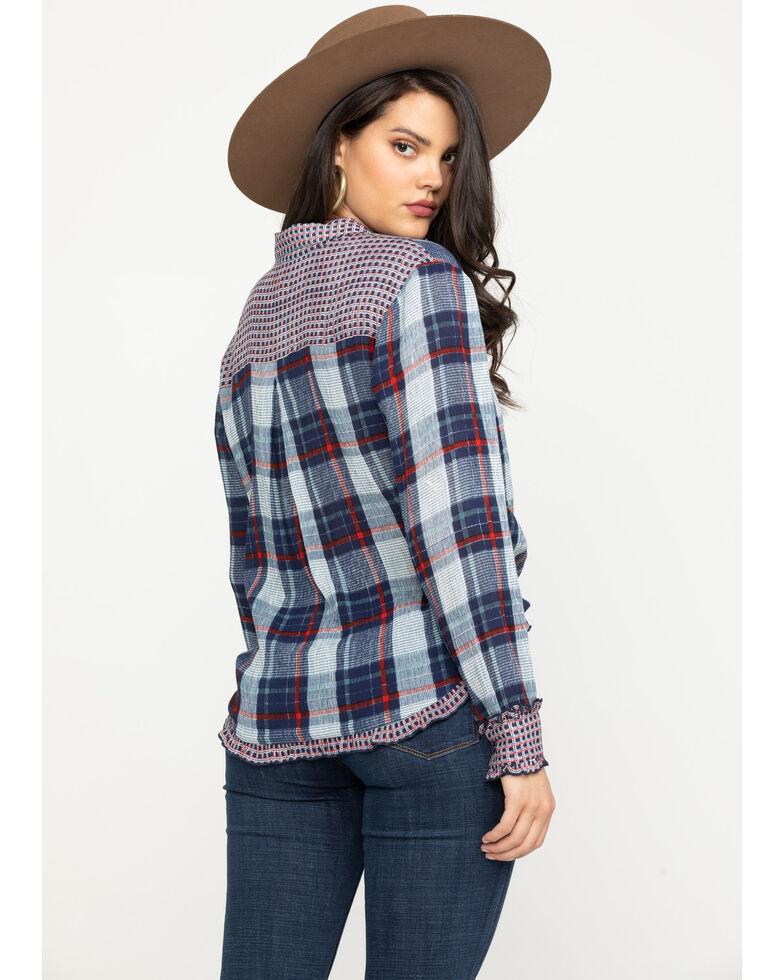 Bila Women's Navy Plaid Ruffle Shirt, Red/white/blue, hi-res