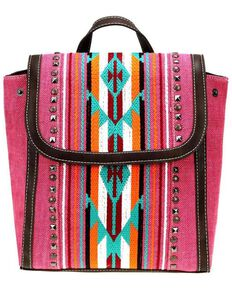 Montana West Women's June Aztec Embroidered Backpack, Pink, hi-res