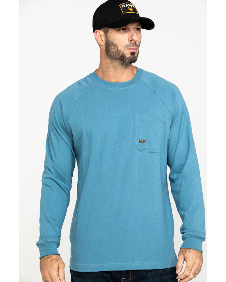 Ariat Men's Blue Rebar Cotton Strong Long Sleeve Work Shirt , Steel Blue, hi-res