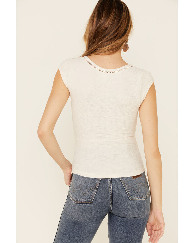 Shyanne Women's Off-White Short Sleeve Textured Top , Off White, hi-res