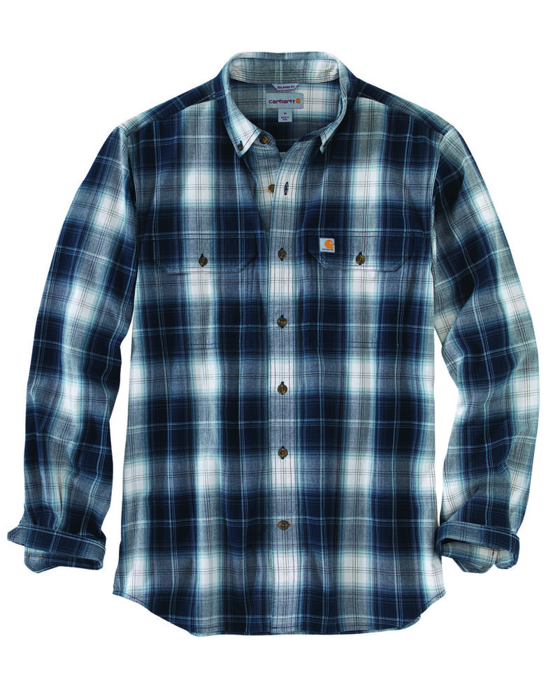 Carhartt Men's Fort Plaid Long-Sleeve Shirt - Big & Tall , Navy, hi-res