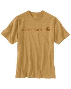Carhartt Men's Yellowstone Heather Midweight Signature Logo Short Sleeve Work T-Shirt , Yellow, hi-res