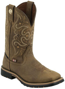 Justin Women's George Strait Brown Waterproof Cowgirl Boots - Square Toe , Barnwood, hi-res