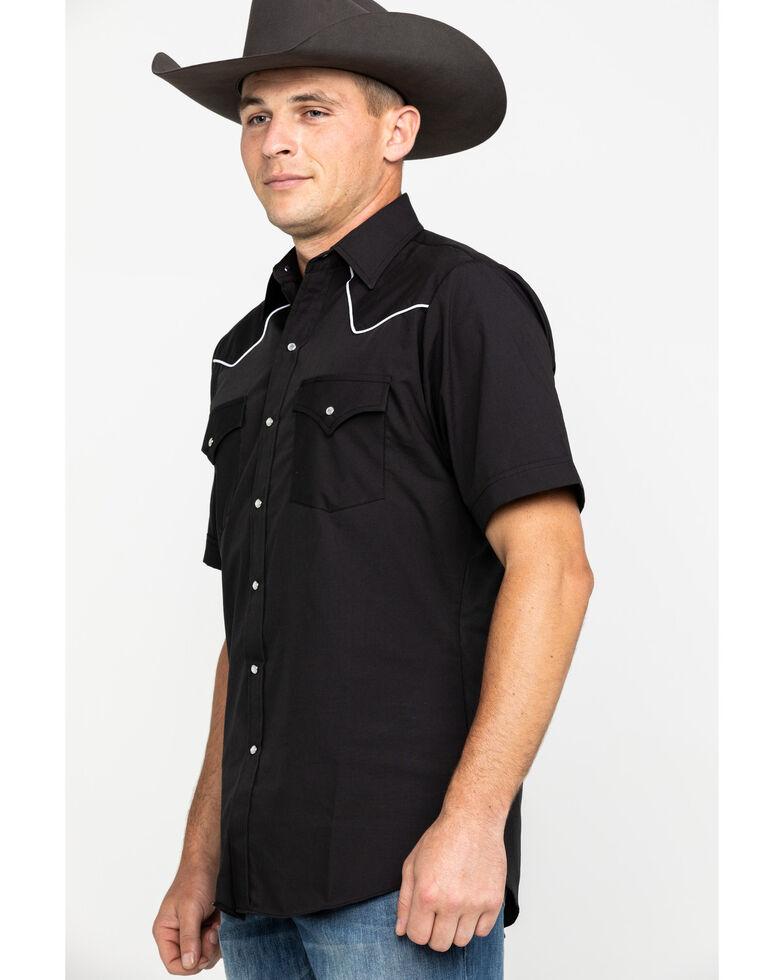 Ely Short Sleeve Black Western Shirt, Black, hi-res