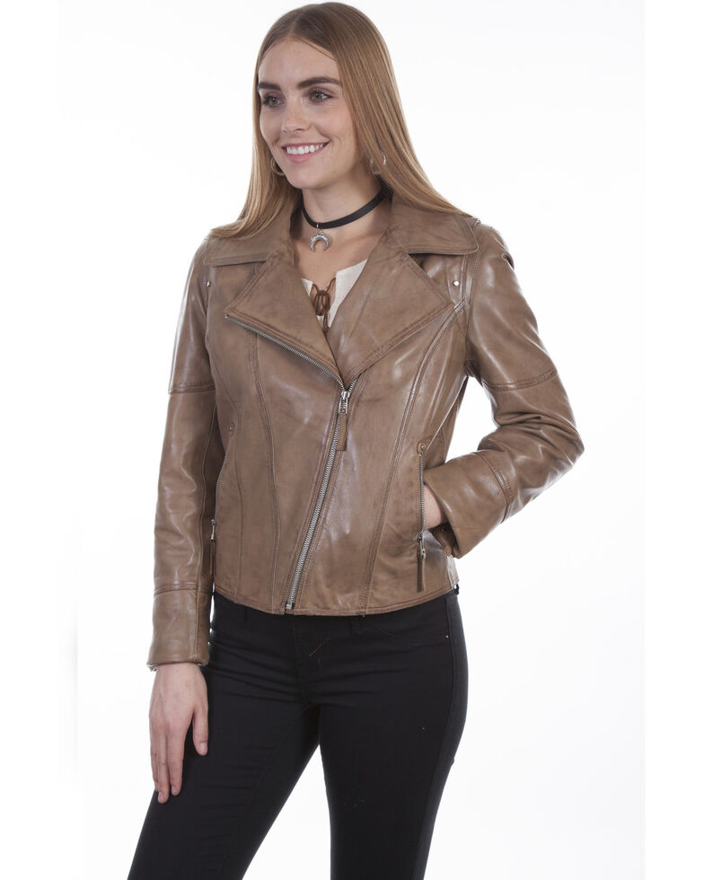 Scully Dyed Lamb Motorcycle Jacket, Sand, hi-res