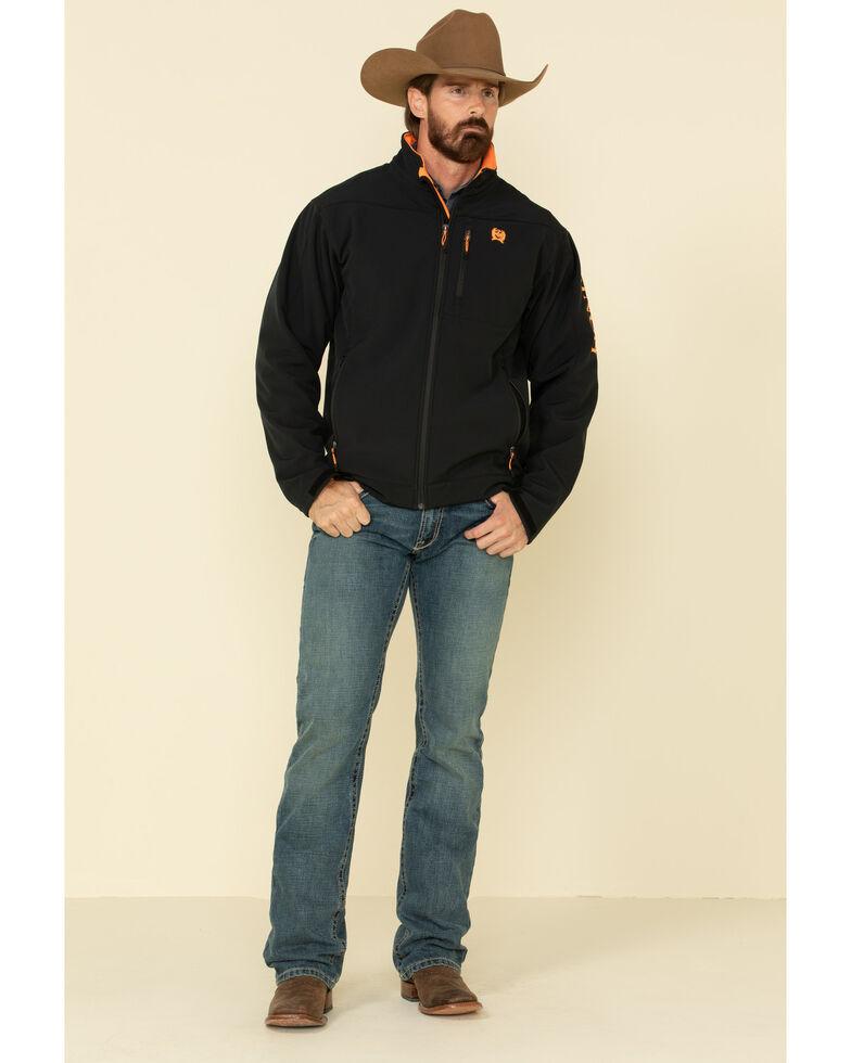 Cinch Men's Black Solid Contrast Logo Bonded Jacket - Big , Black, hi-res