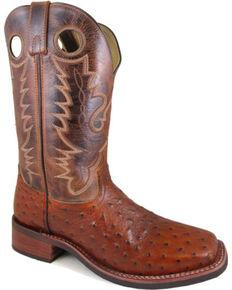 Smoky Mountain Men's Cognac Danville Ostrich Print Boots - Square Toe , Cognac, hi-res