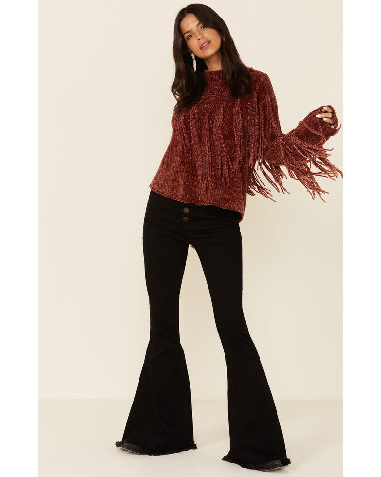 Angie Women's Rust Fringe Chenille Sweater , Rust Copper, hi-res