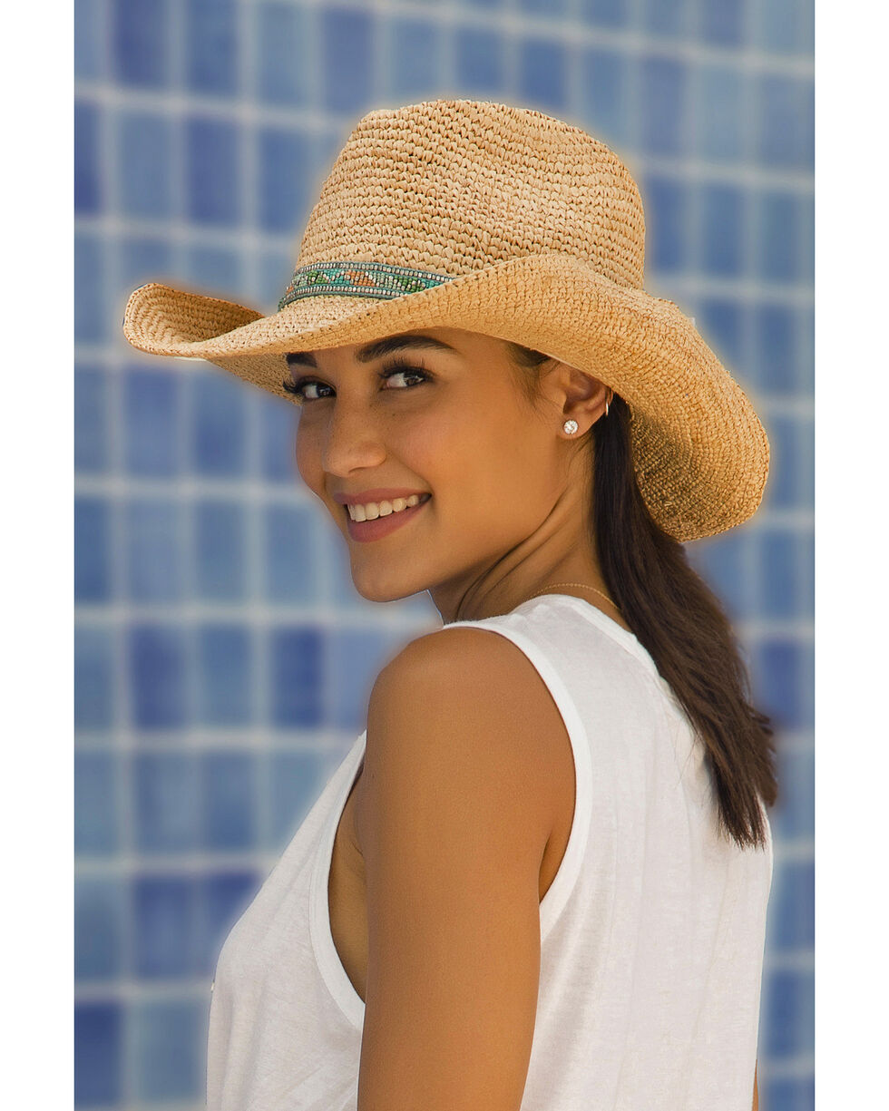 'ale by Alessandra Women's Renegade Raffia Cowgirl Hat, Natural, hi-res