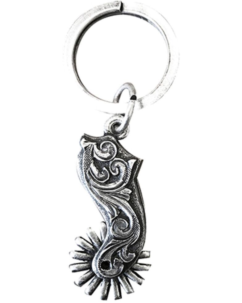 Cody James Men's Scrolled Spur Key Chain Keyfob, Silver, hi-res