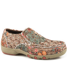 Roper Girls' Chase Floral Fabric Sequin Driving Mocs - Moc Toe, Brown, hi-res