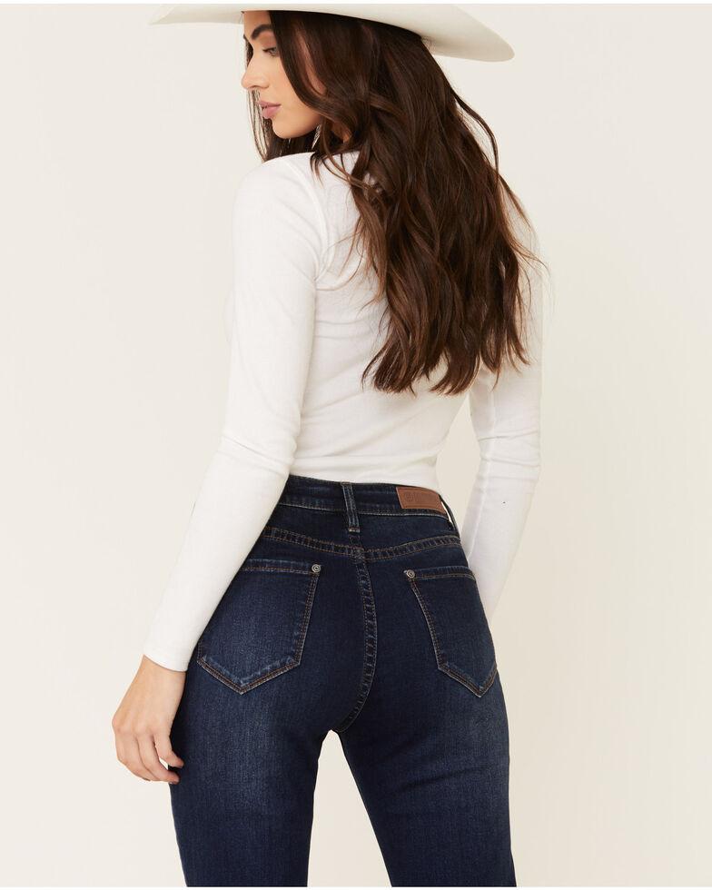 Rock & Roll Denim Women's Button Front Bell Bottom Jeans, Blue, hi-res