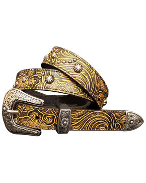 Cowgirls Rock Women's Brown Floral Tooled Studded Leather Belt, Brown, hi-res