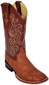 Ferrini Ostrich Patchwork Exotic Western Boots - Wide Square Toe , Cognac, hi-res